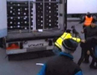 VIDEO ȘOCANT în Franța! Șoferii de TIR năvălescu cu pumnii și picioarele pe niște imigranți!